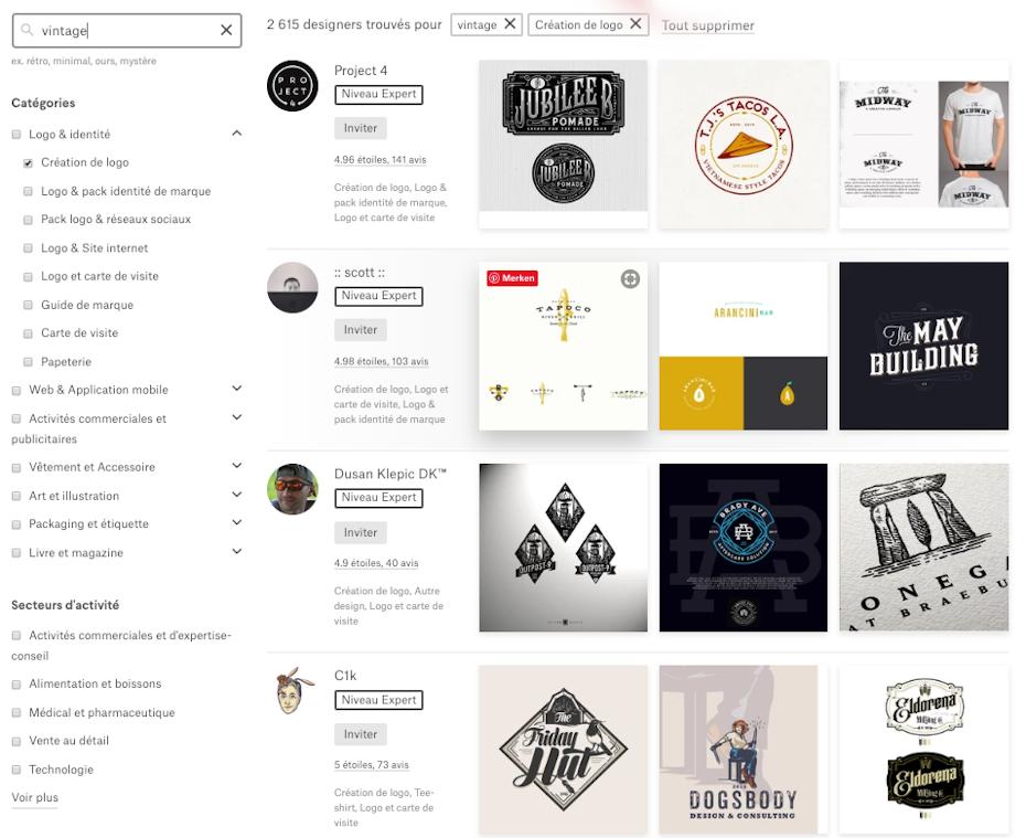 """L'outil de recherche """"Trouver un designer"""" de 99designs"""