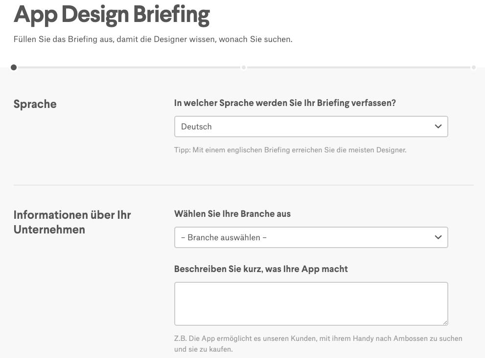 app design wettbewerb briefing