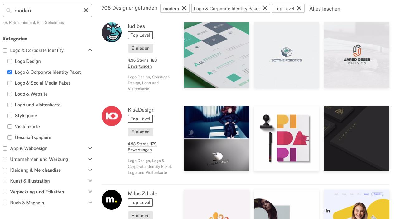 """""""Finde einen Designer""""-Suche"""