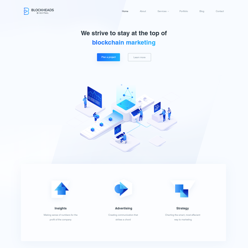 Isometric landing page showing flow of information