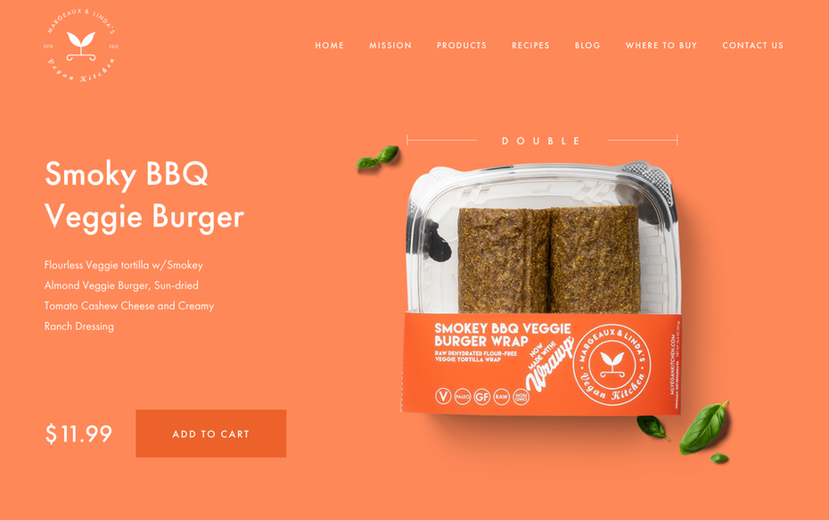 Web design for a vegan food service