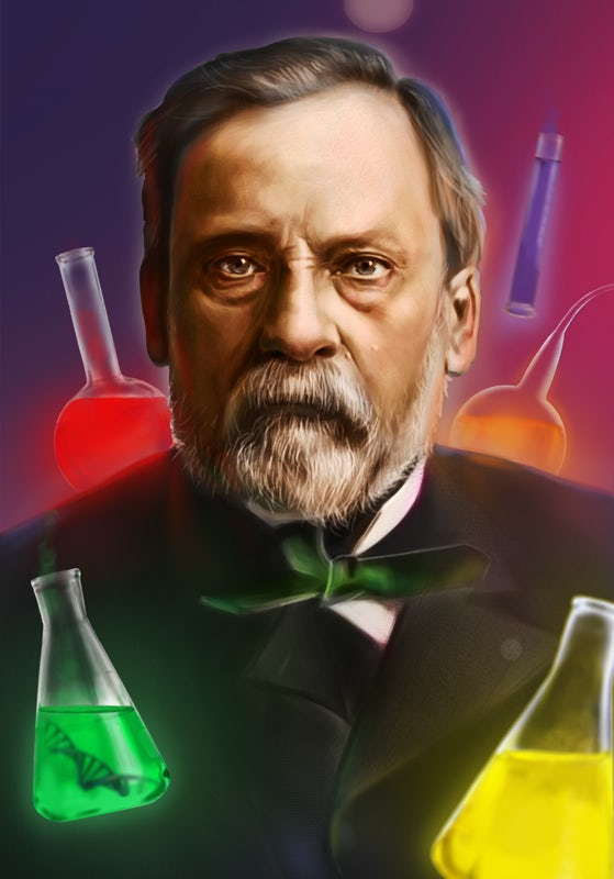 A colorful illustration of Louis Pasteur