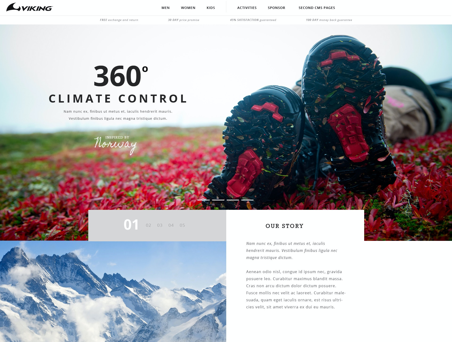 Web design for hiking apparel