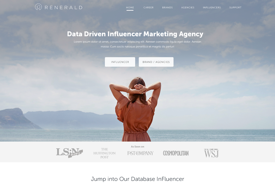 Renerald home page design