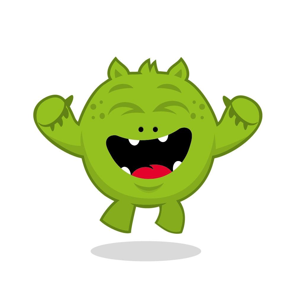 green monster jumping for joy