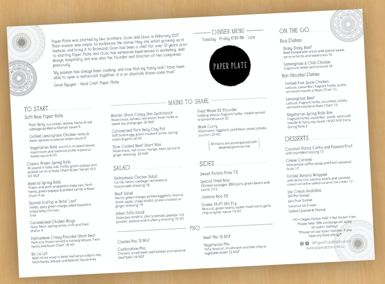 Spacious menu design