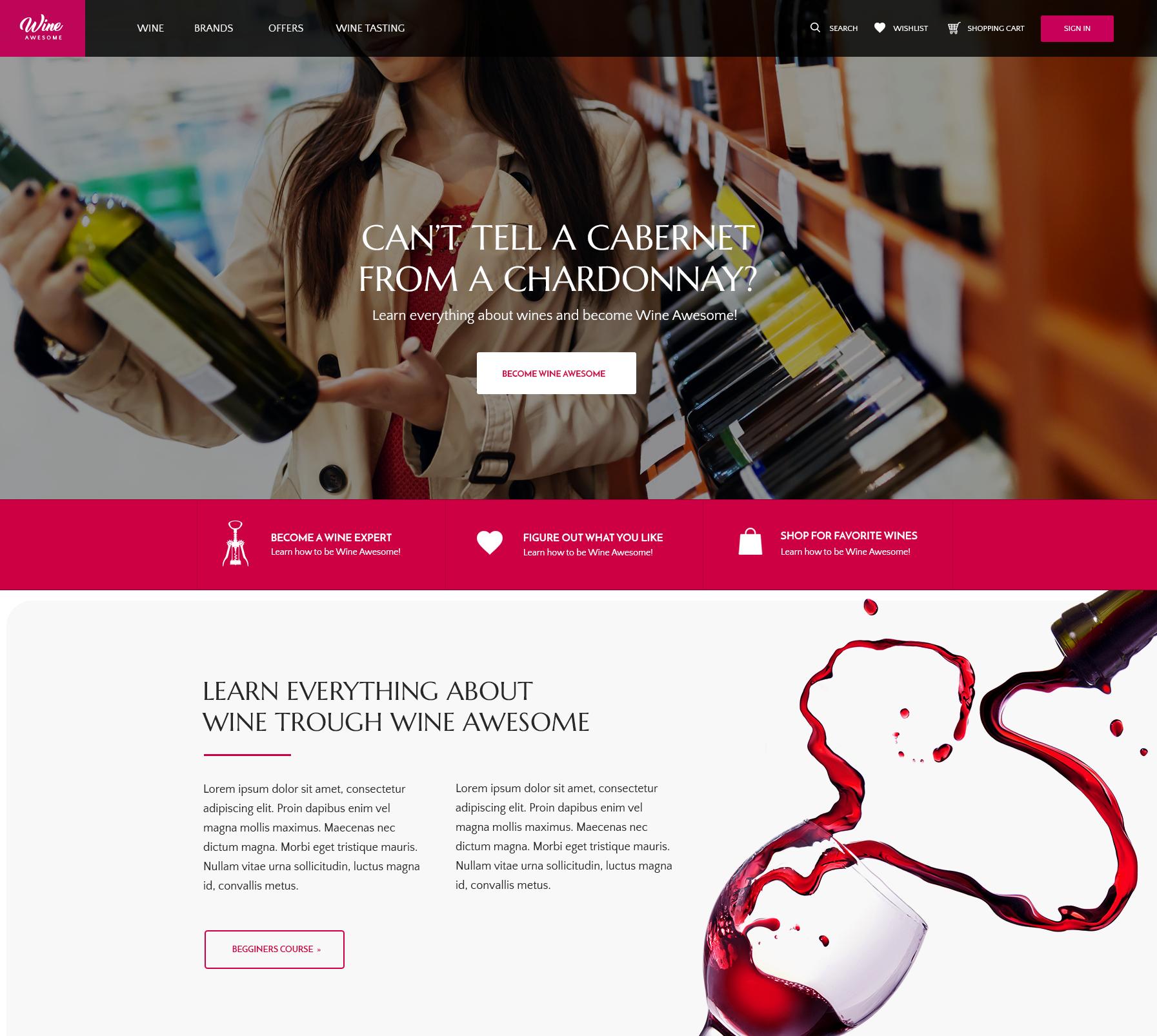Wine startup website