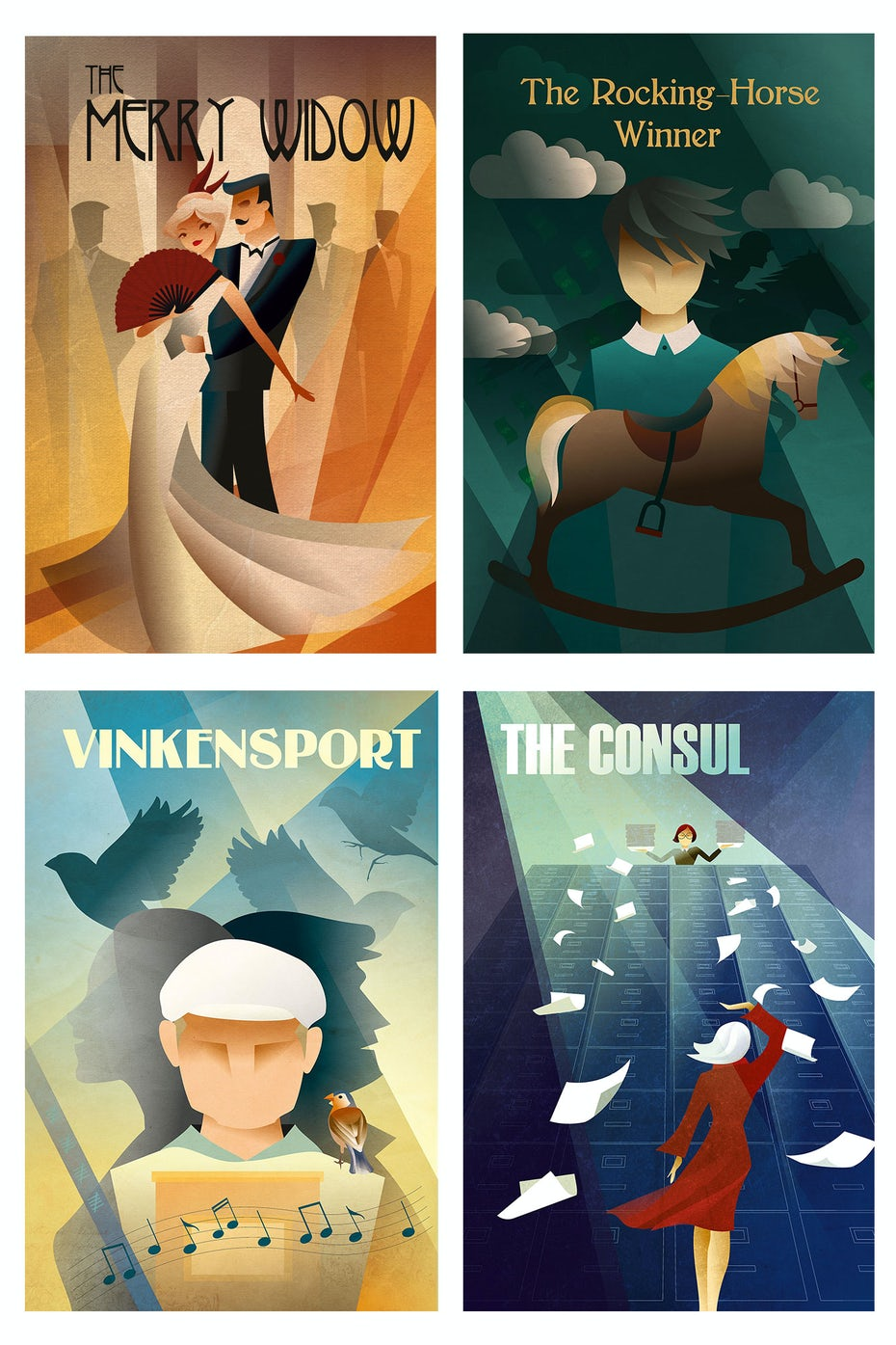 Art deco theater posters