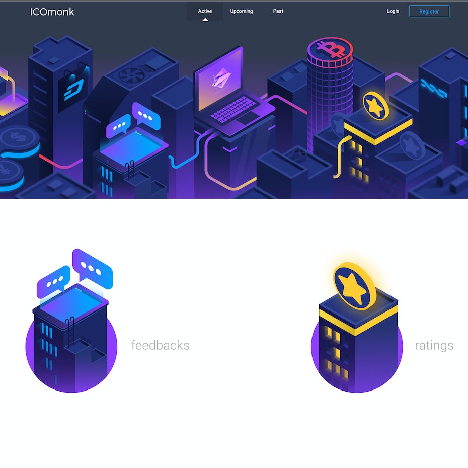 Visual representation of an isometric town that's run with digital currency