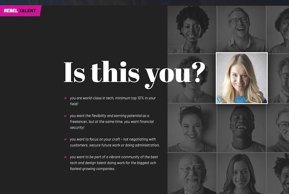 Rebel Talent web page design
