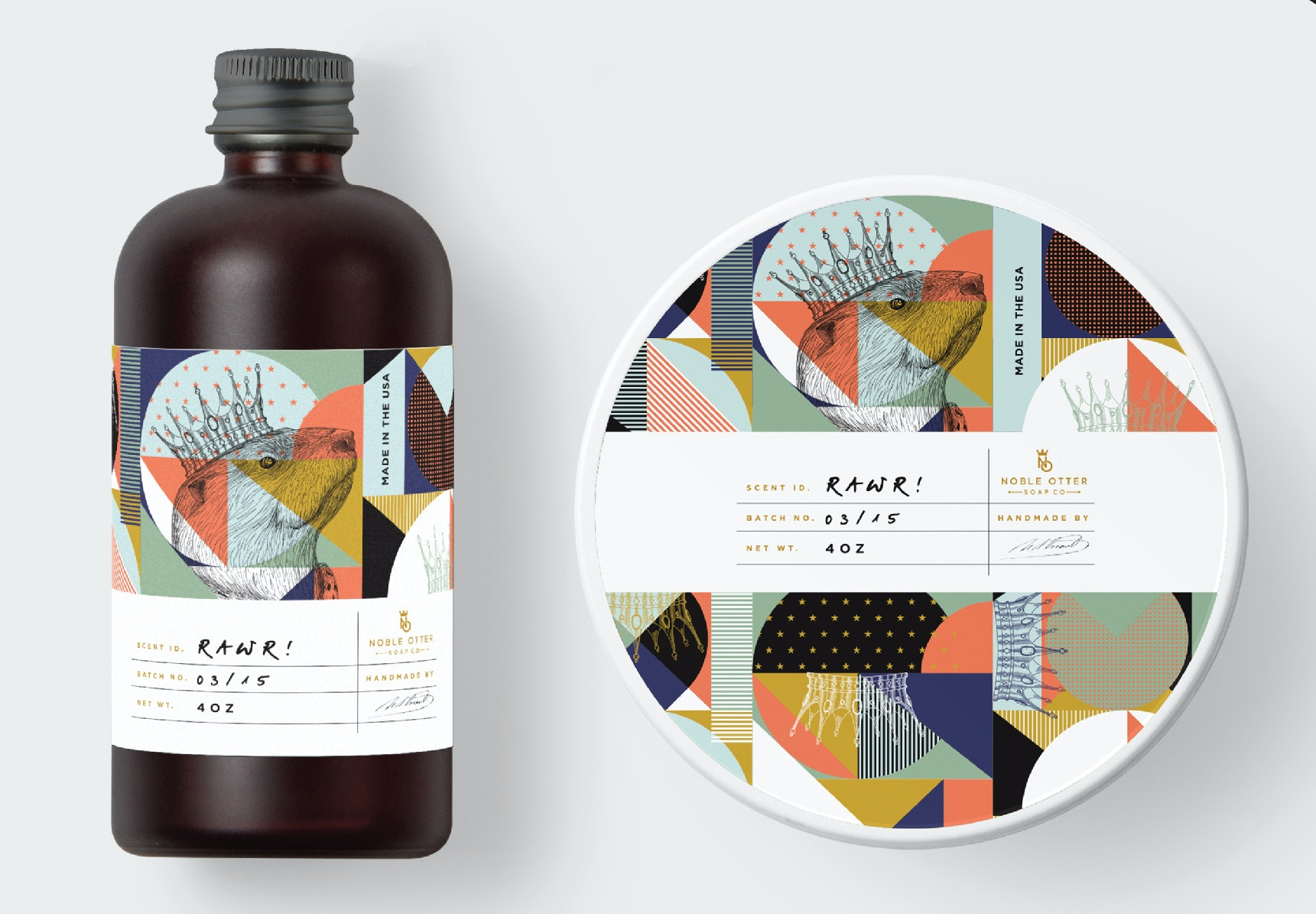 geometric packaging design with lots of detail
