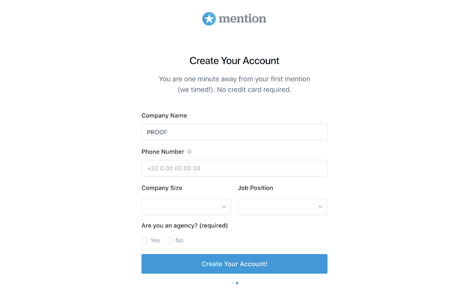 Mention account creation