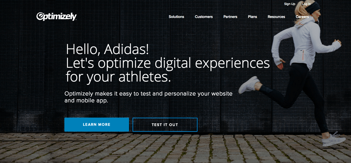 Optimizely page personalization for Adidas