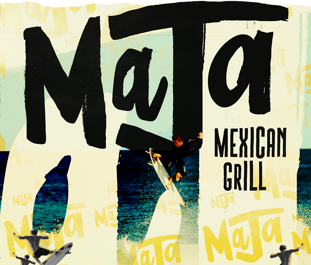 Maja Mexican Grill surfing logo