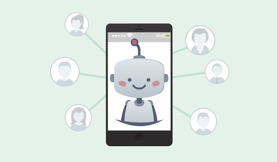 image of robot connecting with people