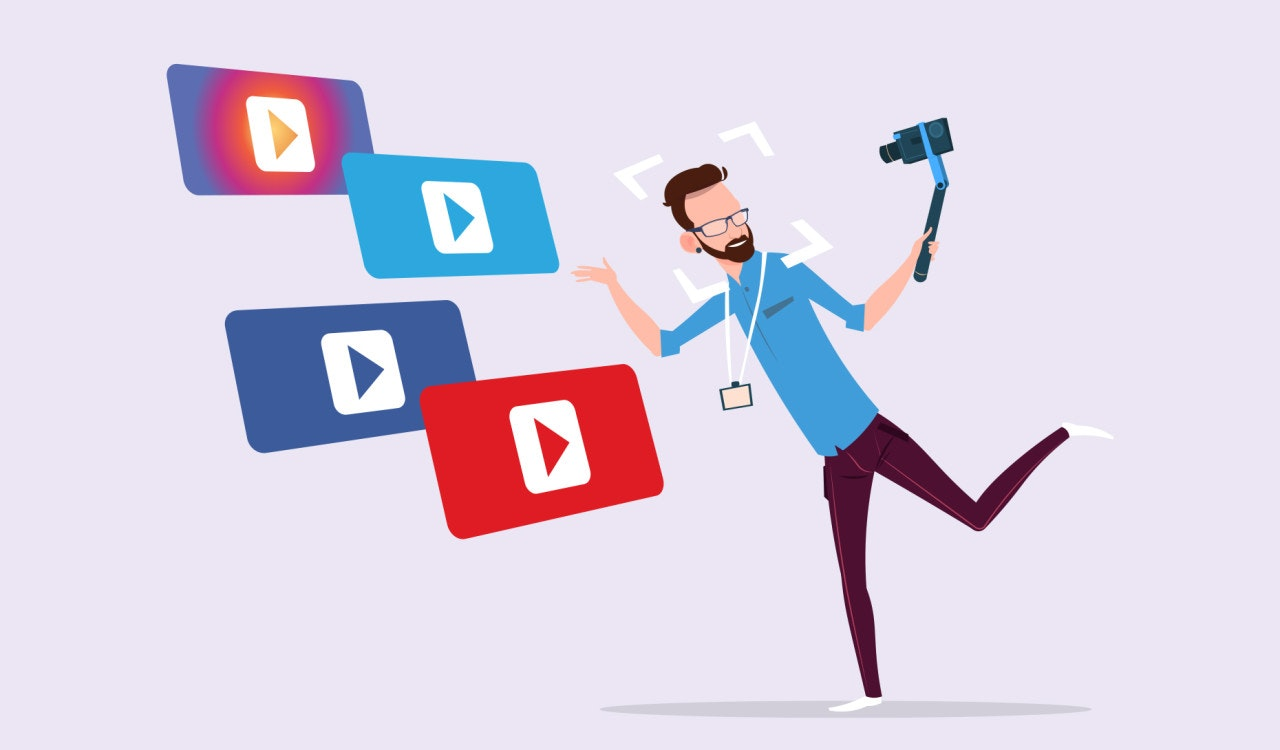 illustration of person filming himself for social media