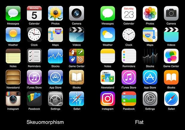 side by side comparison of skeuomorphic iPhone apps and their flat design counterparts