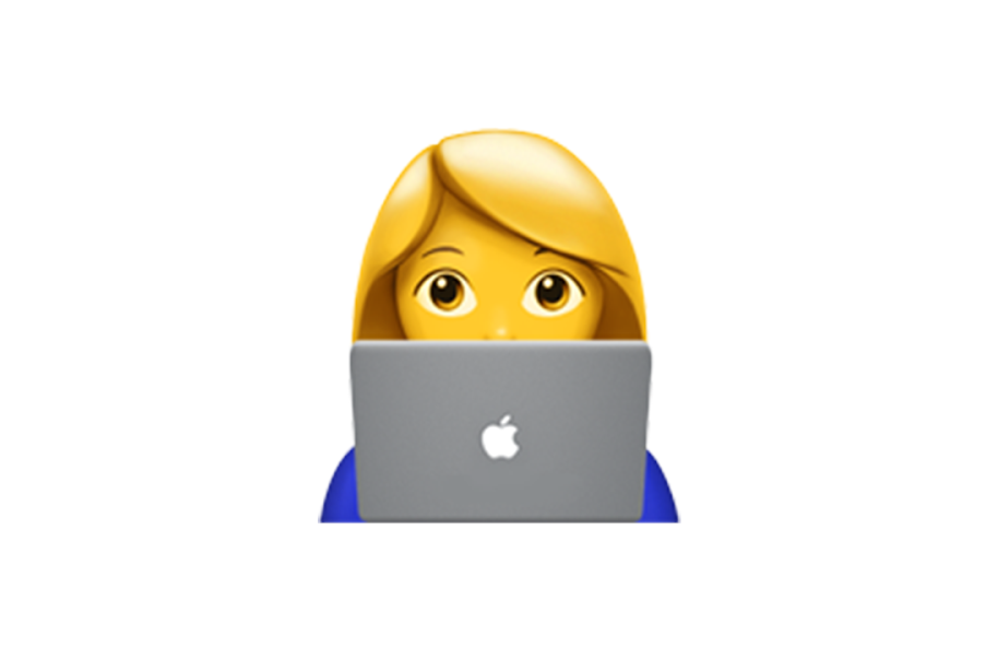 Woman using Macbook emoji