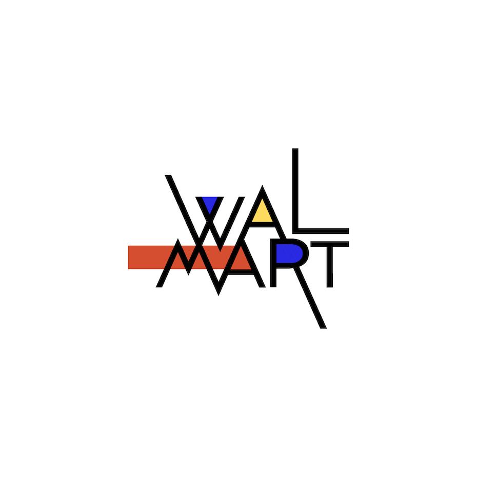 Walmart logo in Bauhaus design style