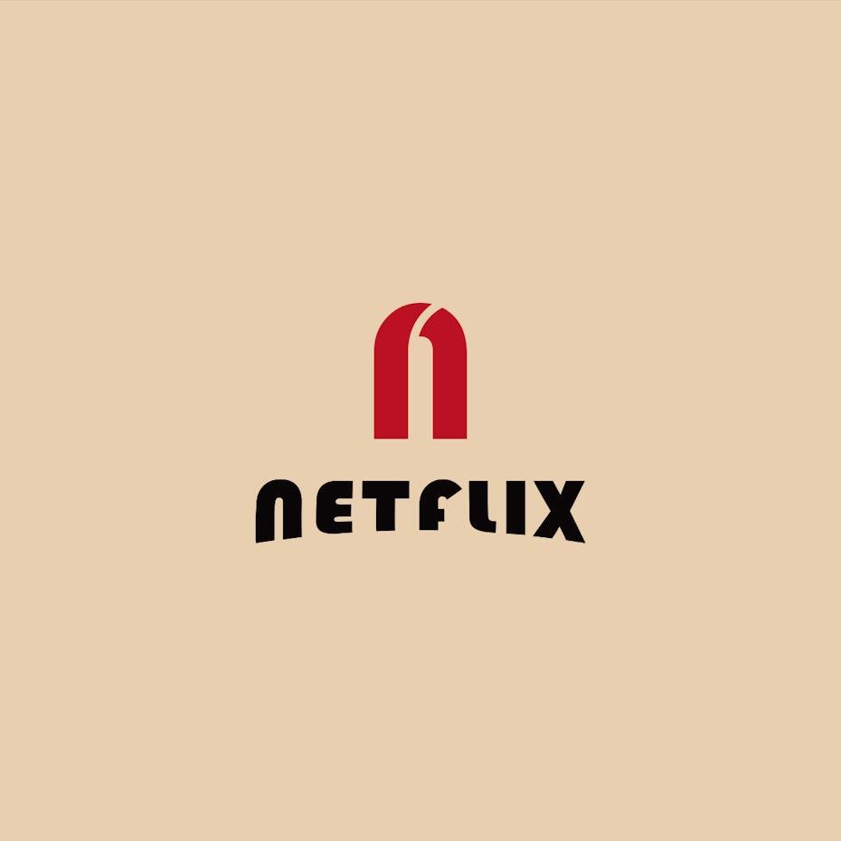 Netflix logo in Bauhaus design style