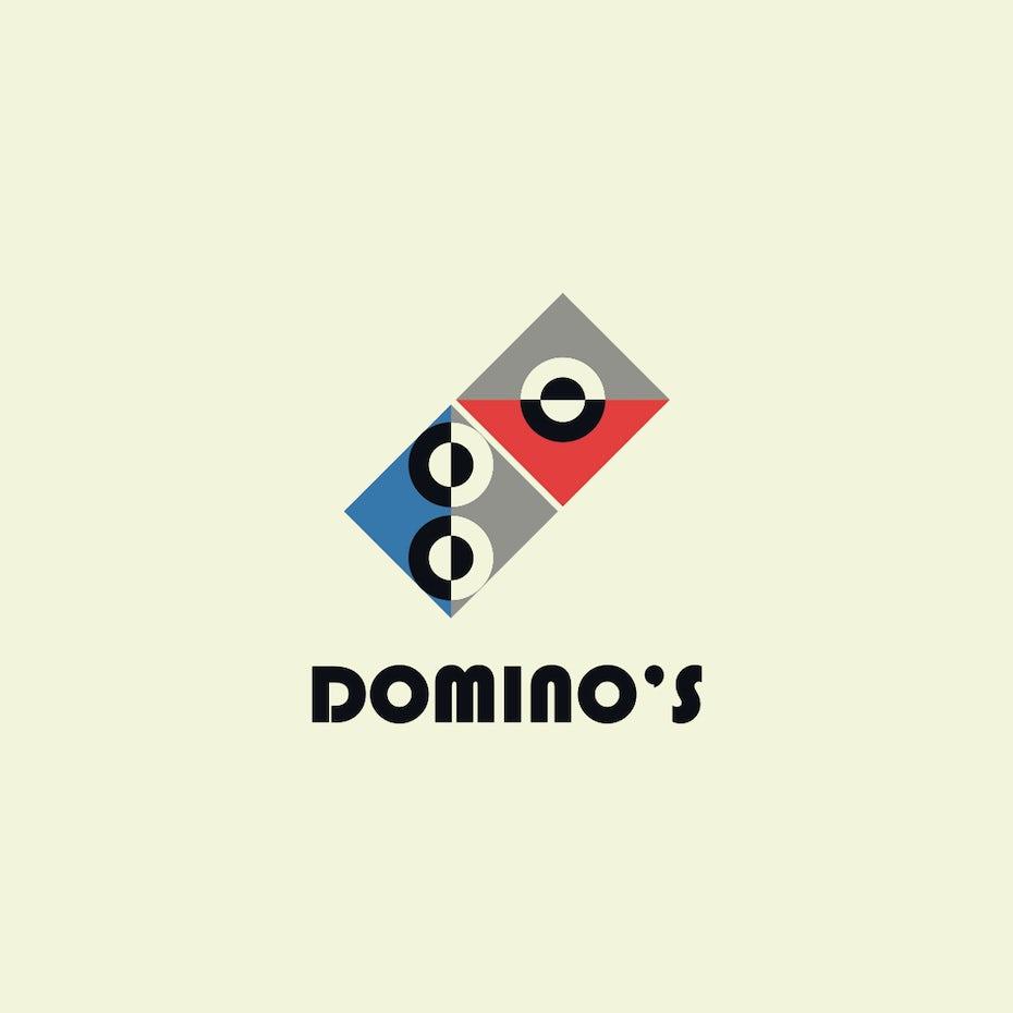Domino's logo in Bauhaus design style