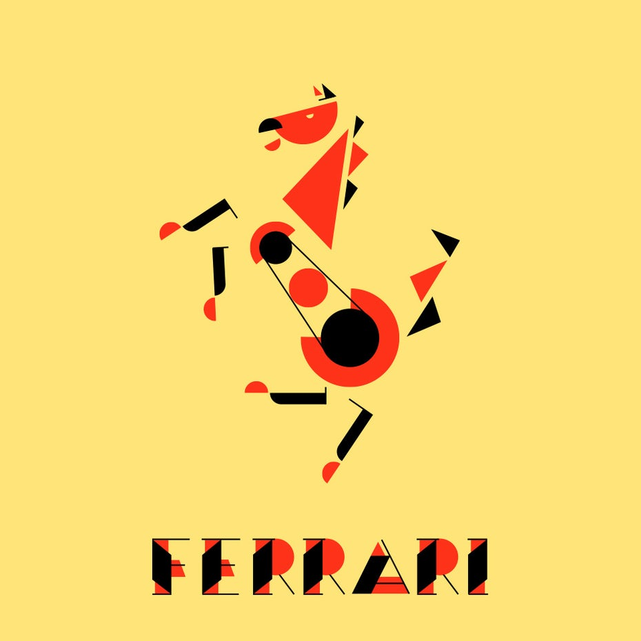 Ferrari logo in Bauhaus design style