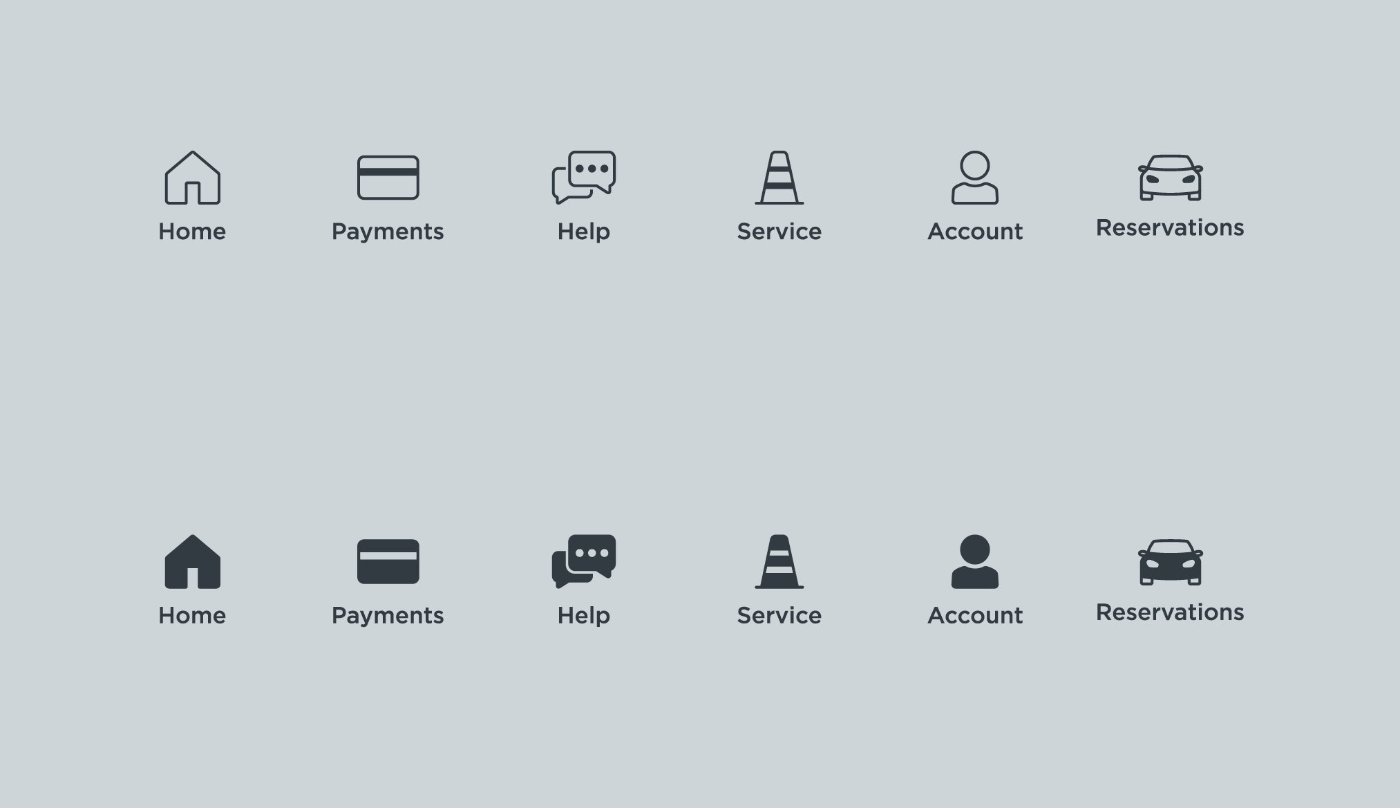 collection of icons for a mobile app