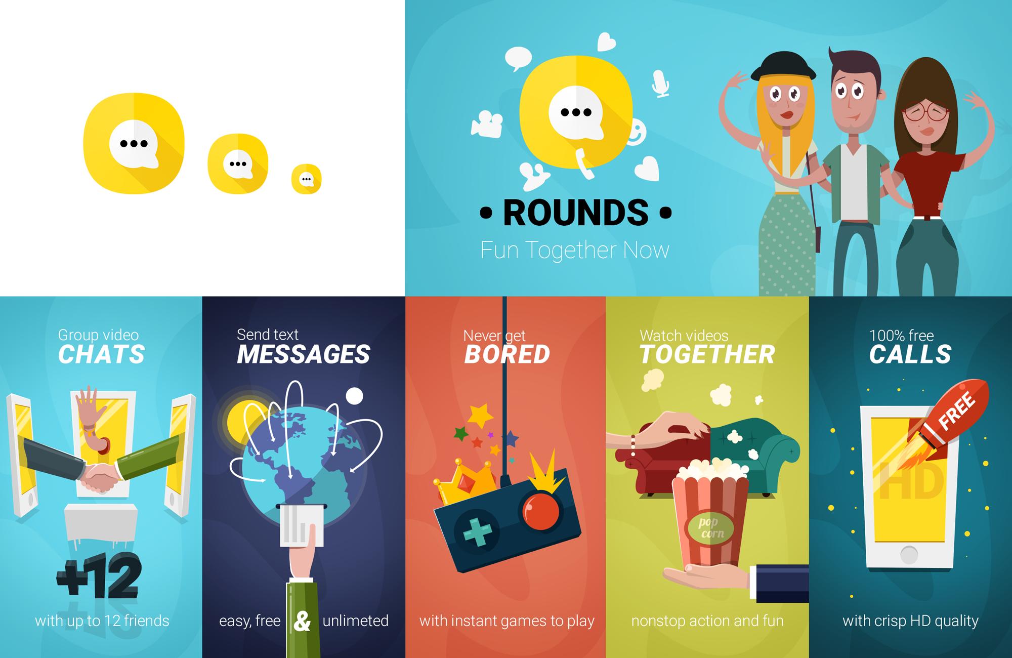 Illustrated app advertisement