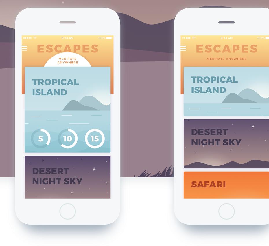 A flat design meditation app