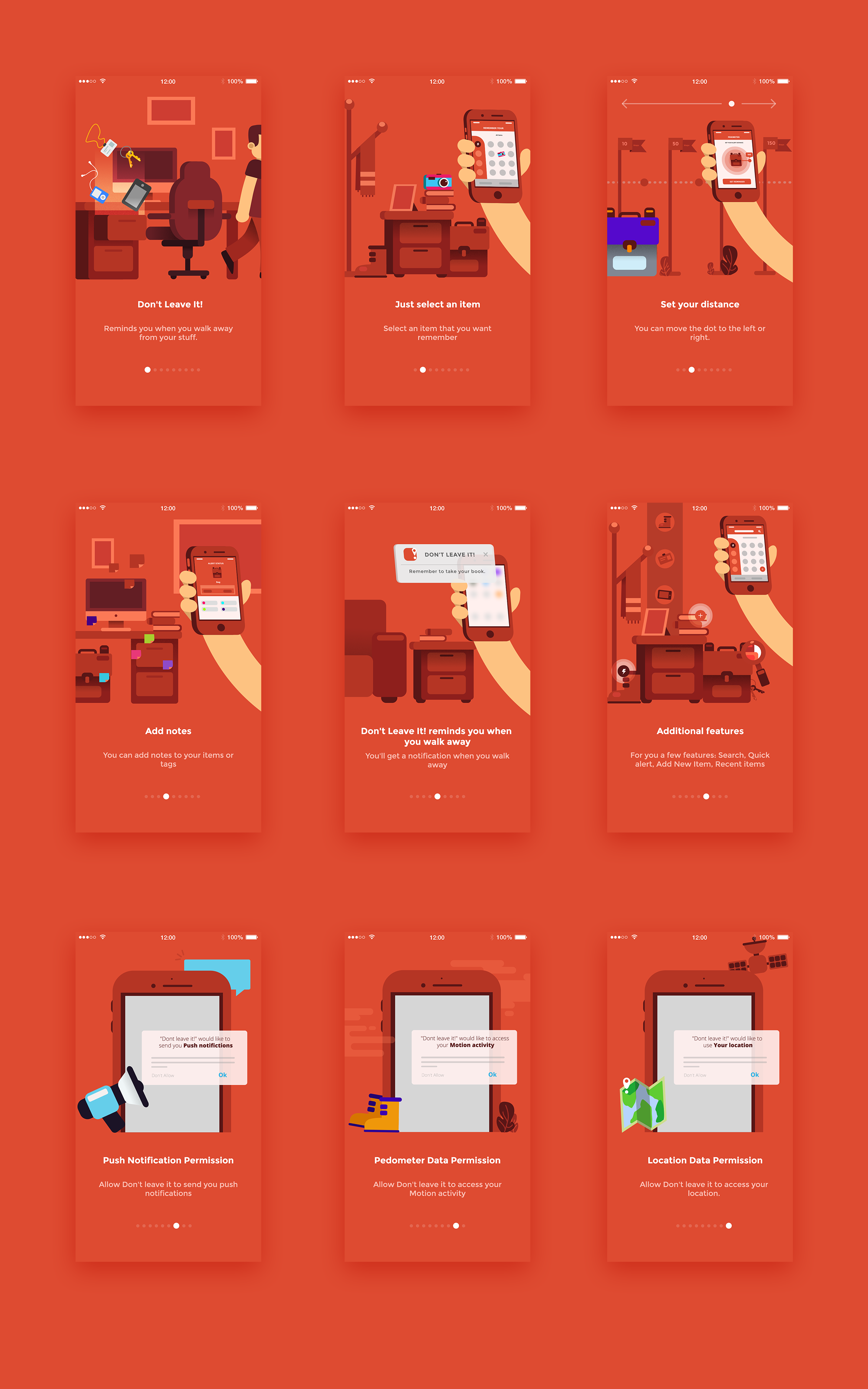 Red app design tutorial featuring flat illustration