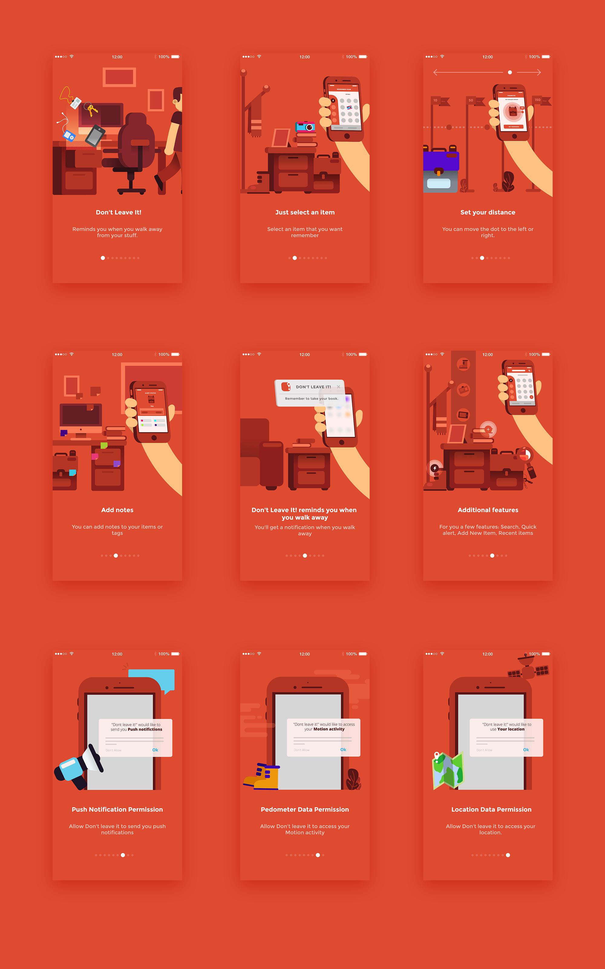 Red app design tutorial featuring flat illustration