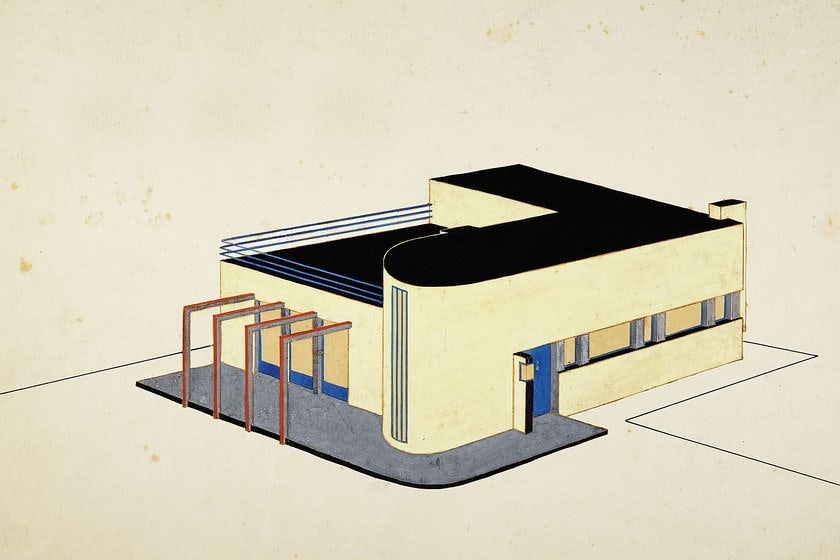 drawing of a Bauhaus-style building