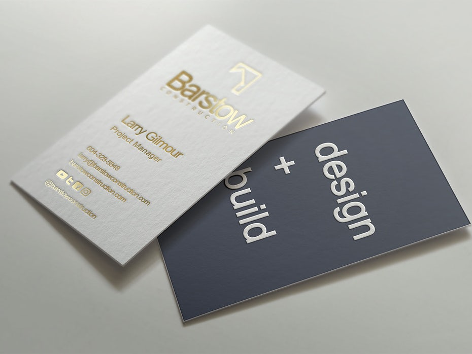 Barstow Construction business cards