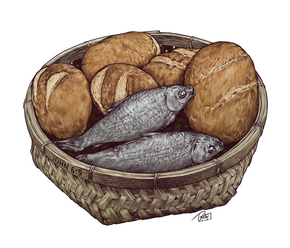 realistic illustration of fish and bread loaves in a basket