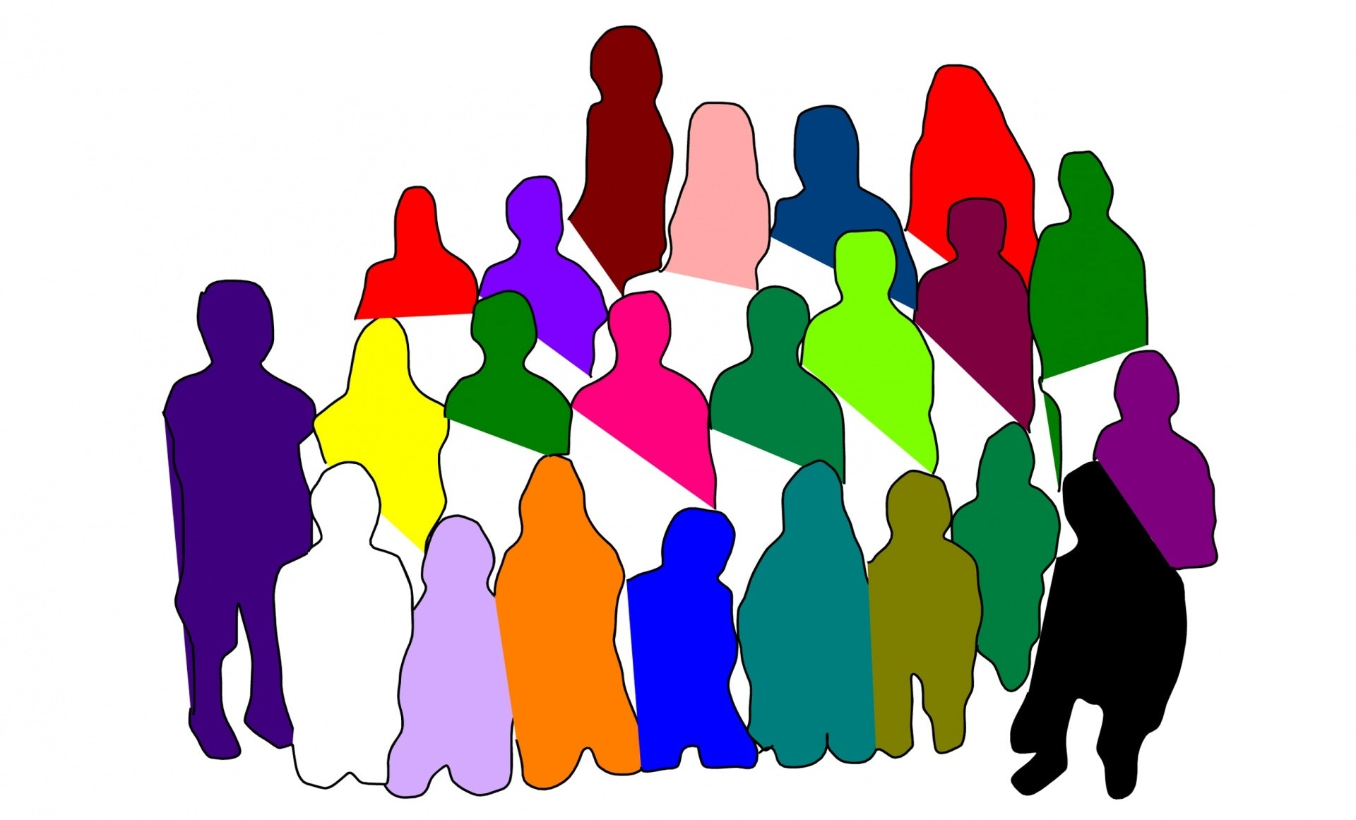 line drawing of a large group of different-colored people in silhouette