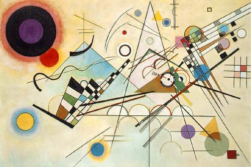 modernist image comprised of multiple colored shapes