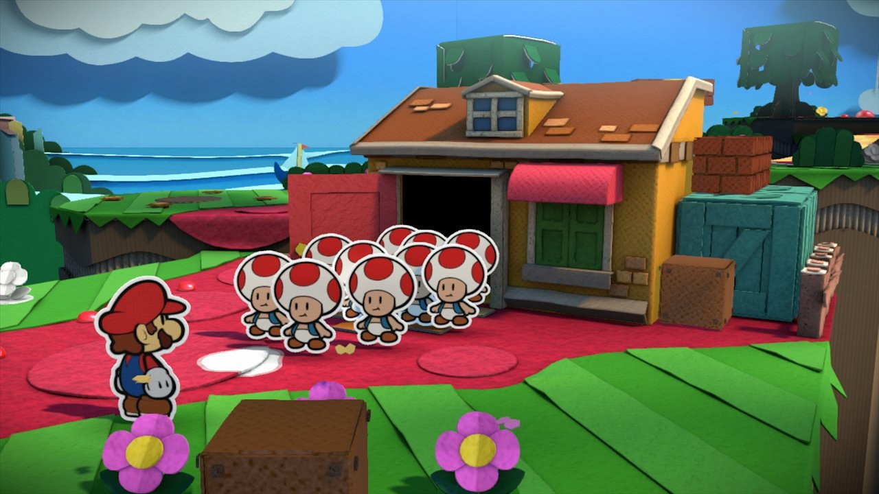 "screenshot from ""Paper Mario"" video game showing 2D Mario and a bunch of Toads against a 3D background"