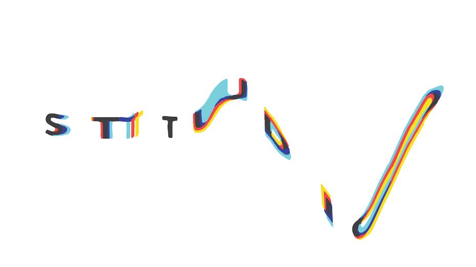 A glitch art design showing color degradation