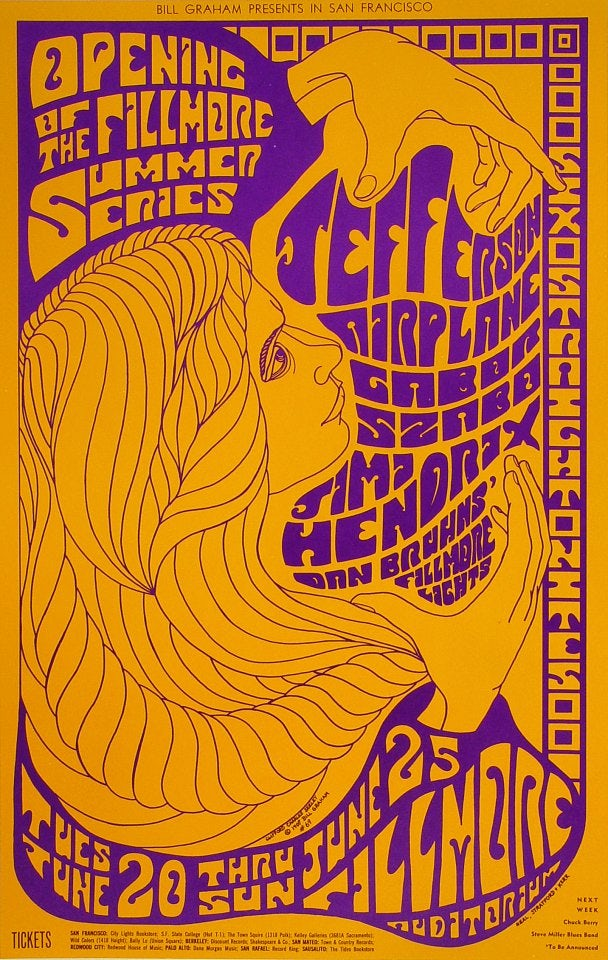 1967 Jefferson Airplane and Jimi Hendrix duotone poster by Clifford Charles Seeley