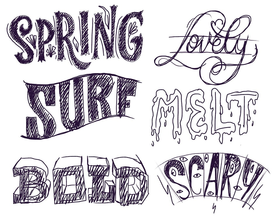 Sketched letterforms