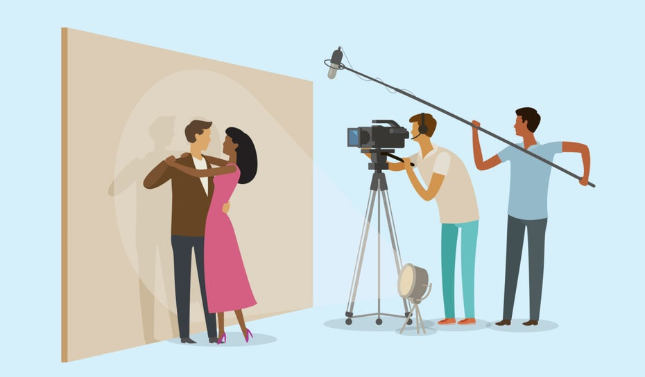 illustration of camera team filming couple