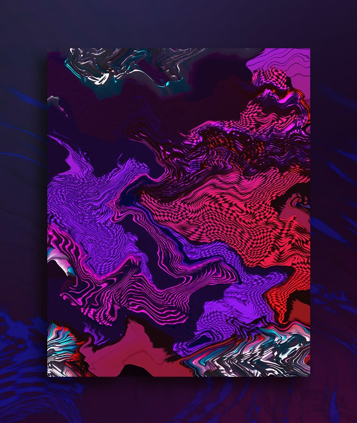 A glitch art textured design