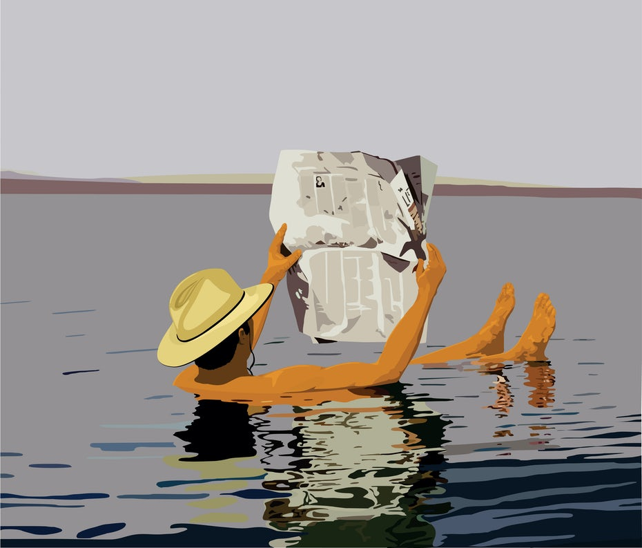 reading a newspaper in the water