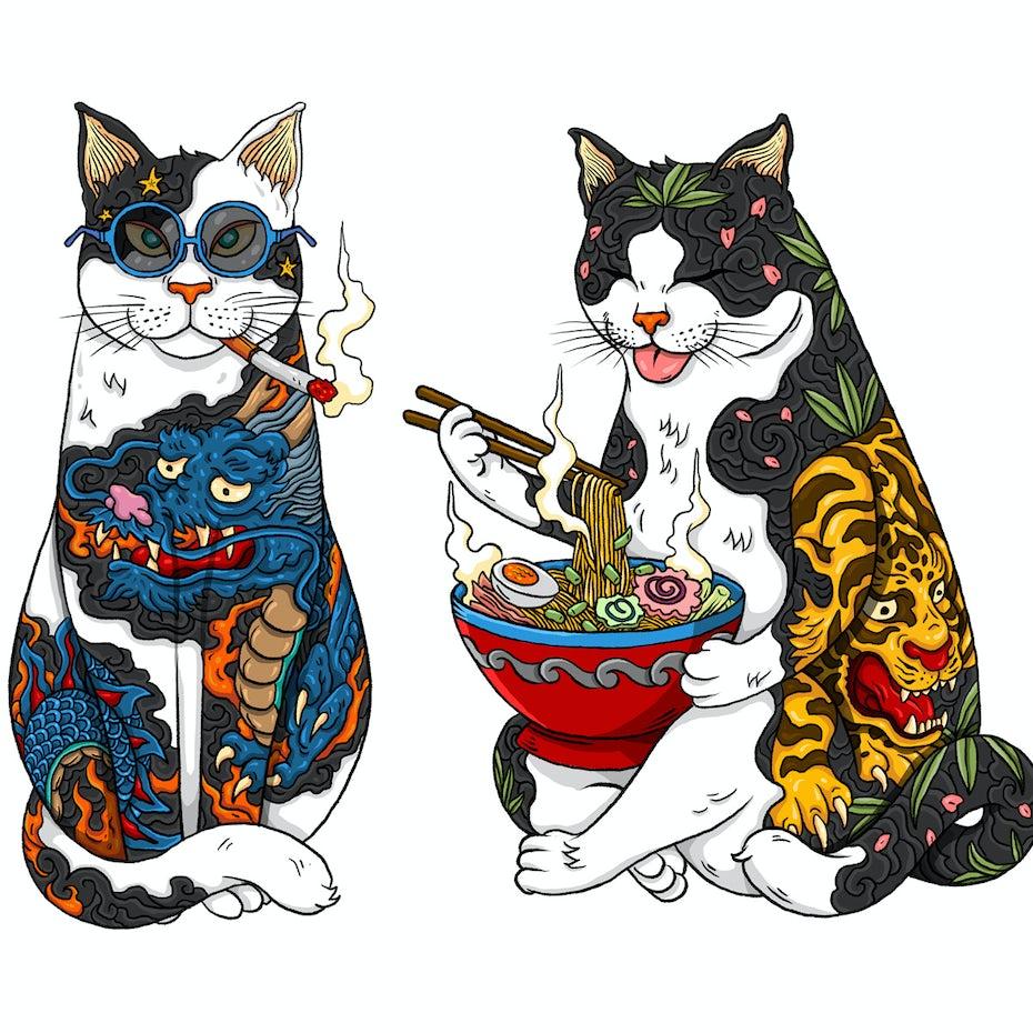 Tattooed Cat illustration