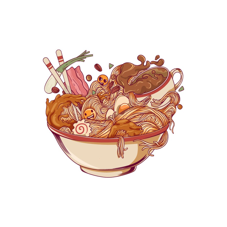 Ramen and Coffee illustration