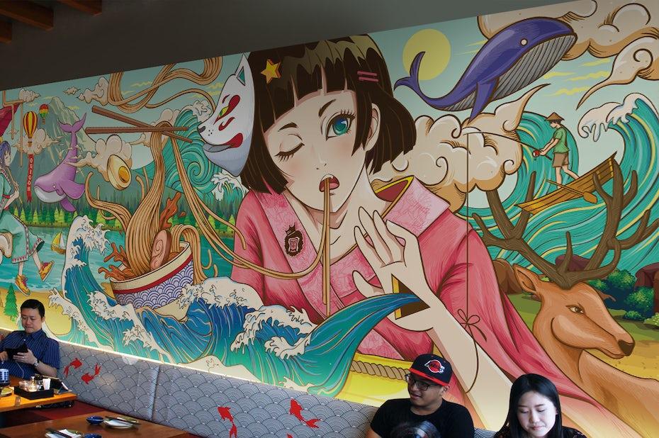 Wall Art / Mural illustration - Mugen Noodle Bar