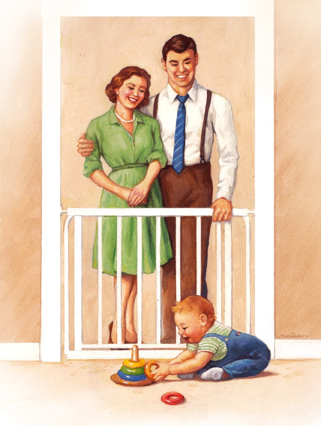 1950s style illustration of parents and baby at home