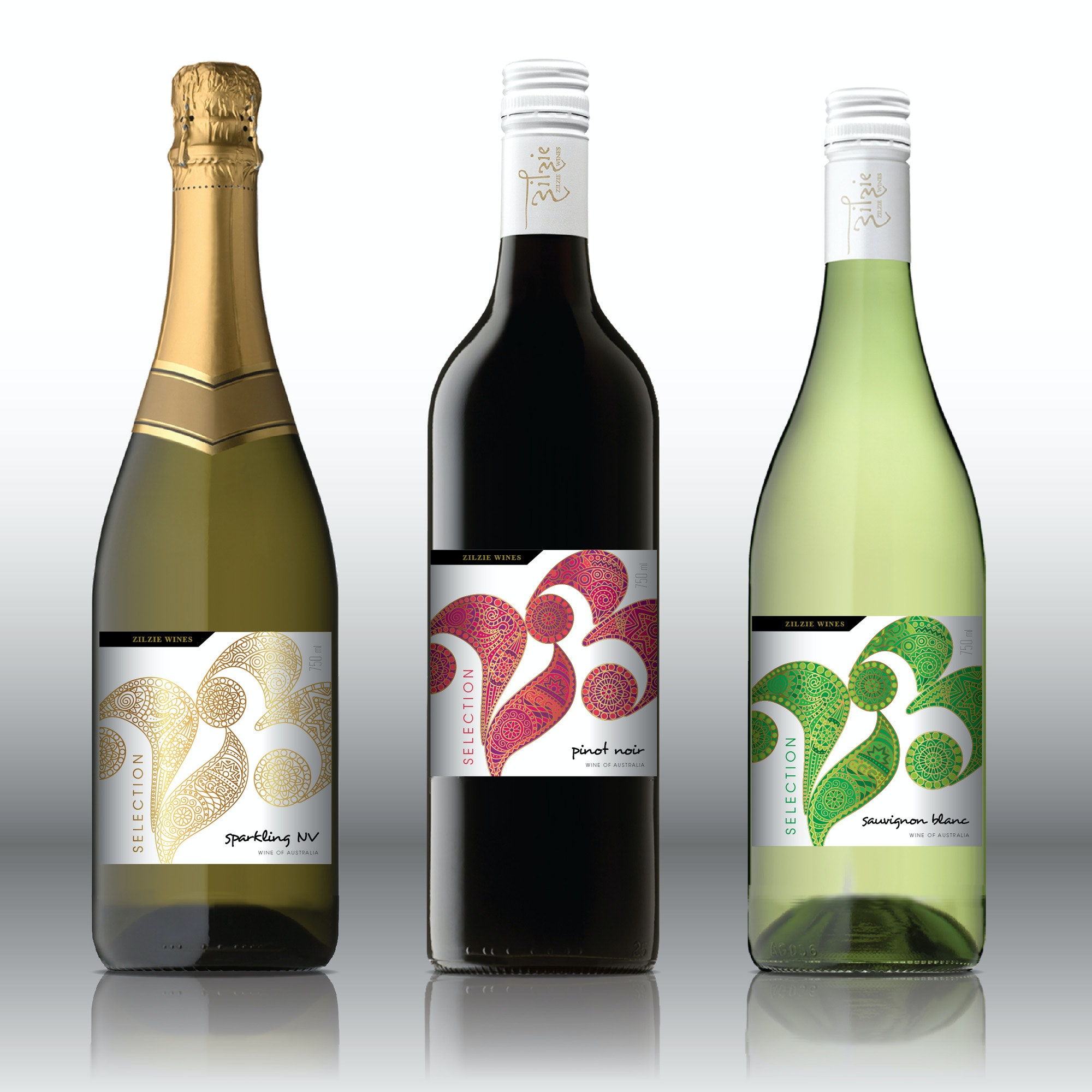 detailed wine logo in three colors