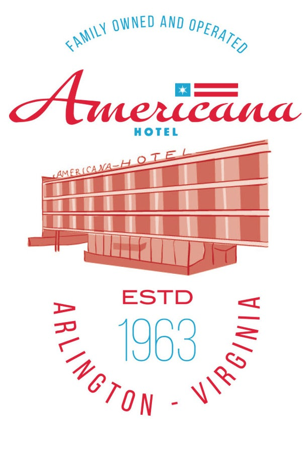 Americana Hotel Illustrated T-shirt design