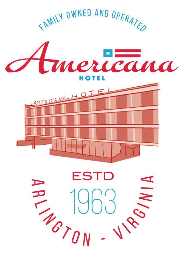 Americana Hotel Illustrated T-shirt design